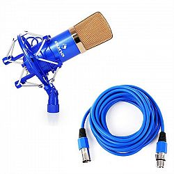 Auna CM001BG, studiový mikrofon, nástroje, XLR, modro-zlatý