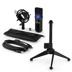 Auna MIC-900B -LED V1, USB mikrofonní sada, černý kondenzátorový mikrofon + stolní stativ