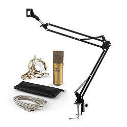 Auna MIC-900G V3, mikrofonní sada, USB kondenzátorový mikrofon, rameno kardioidní ch., zlatá barva
