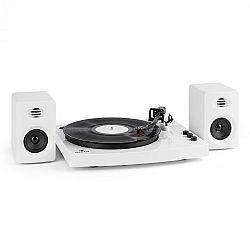 """Auna TT-Play gramofon, 2 stereo reproduktory (3 """"/ 10 W) bt 33 1/3 a 45 otáček / min, bílá barva"""