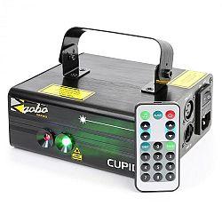 Beamz Cupid dvojitý laser, 6 DMX kanálů, 18 W rg, 12 motivů, ir dálkový ovladač