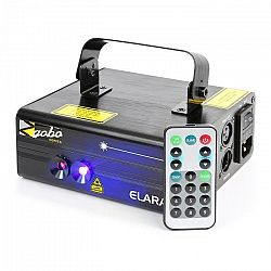 Beamz Elara, dvojitý laser, 6 DMX kanálů, 18 W rb, 12 motivů, ir dálkový ovladač