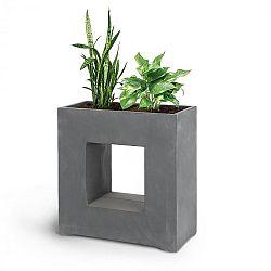 Blumfeldt Airflor, květináč, 70 x 70 x 27 cm, sklolaminát, do interiéru i exteriéru, tmavě šedý