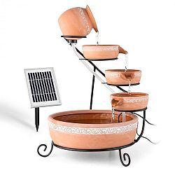 Blumfeldt Empoli, kaskádová fontána, terakota, 5 úrovní, 200 l/h, solární, 2 W, LED