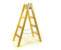 Dvojitý dřevěný žebřík - štafle Exklusive - 7 příček