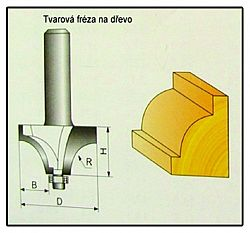 Fréza tvarová do dřeva F18 -  7,96x9,8mm