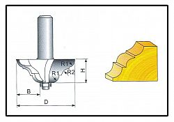 Fréza tvarová do dřeva F19 -  8x34,4x12,7mm