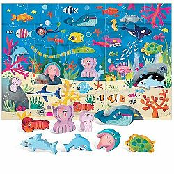 HEADU Mořský svět s 8 dřevěnými vkládacími figurkami