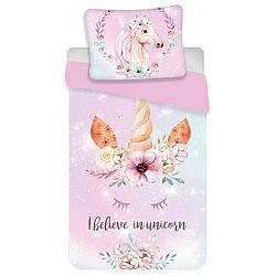Jerry Fabrics Dětské bavlněné povlečení Unicorn pink, 140 x 200 cm, 70 x 90 cm