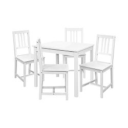 Jídelní stůl 8842B bílý lak + 4 židle 869B bílý lak