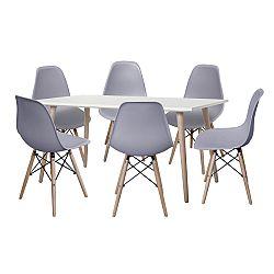 Jídelní stůl GÖTEBORG 50 + 6 židlí UNO šedé