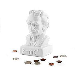 Keramická pokladnička Kasička Einstein, Bílá 10x18 cm