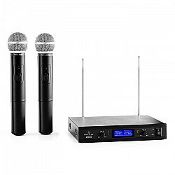 Malone VHF-400 Duo 1, 2kanálová sada VHF bezdrátových mikrofonů, 1 x přijímač, 2 x ruční mikrofon