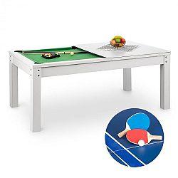 OneConcept Liverpool, 3-v-1, hrací stůl, 7' kulečníkový stůl, stůl na stolní tenis, jídelní stůl, bílý