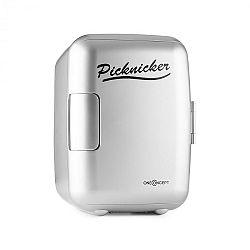 OneConcept Picknicker, stříbrný, termobox s funkcí chlazení / udržení v teple, mini, 4 l, AC DC, auto, EMARK certifikát
