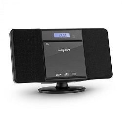 OneConcept V-13 BT, stereo systém s CD MP3, USB, bluetooth, rádiem a budíkem, nástěnná montáž, černý