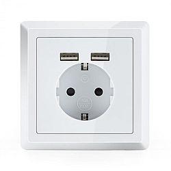 OneConcept WS-2USB, elektrická zásuvka s ochranným kontaktem, 2x USB port, pod omítku, nástěnná montáž