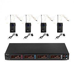 Power Dynamics PD504B, sada UHF bezdrátových mikrofonů, 4x headset + kapesní vysílač, 4x 50 kanálů