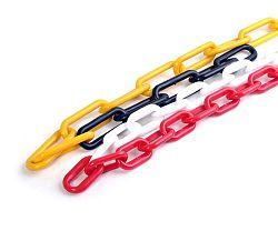 Řetěz plastový barevný - 8mm červeno-bílý