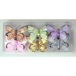 Sada motýlů na klipu 7 cm, 6 ks