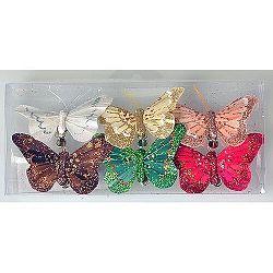 Sada motýlů na klipu 8 cm, 6 ks