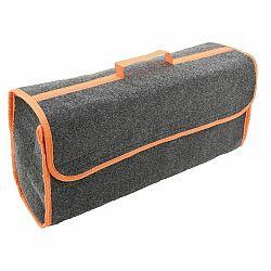 Stylový organizer do auta 50x15 cm, pevná brašna do zavazadlového prostoru černo-oranžová