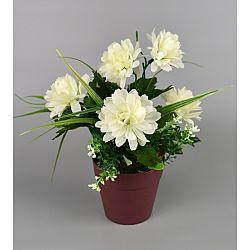 Umělá květina Chrysantéma v květináči 22 x 15 cm, bílá